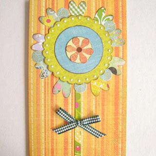 [カード] アップリケ風みどりの花*Apricotton