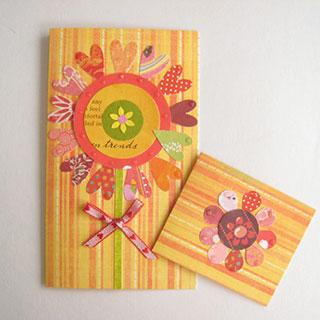 [♡(ハート)がいっぱいカード&ミニカード] アップリケ風 赤い花*Apricotton
