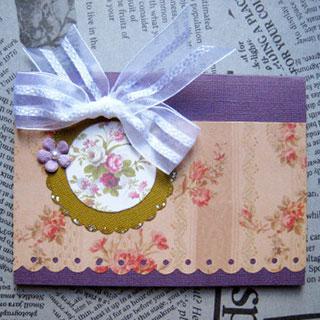 [グリーティングカード]Rose・紫(タグ付き)*Apricotton