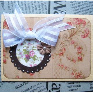 [グリーティングカード]Rose・茶(タグ付き)*Apricotton