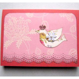 [グリーティングカード]王冠のとり(タグ付き)*Apricotton