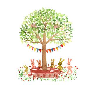 ポストカード【木の下に集まろう】*Atelier Mina