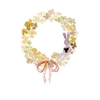 ポストカード【紫陽花リース】*Atelier Mina