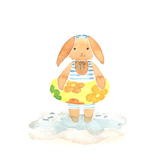 ポストカード【うきわとうみへ】*Atelier Mina