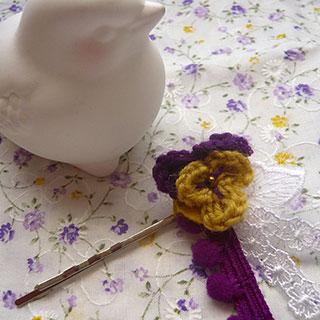 ビオラモチーフのヘアピン (黄×紫) * CHEER*2