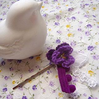 ビオラモチーフのヘアピン (藤色×紫) * CHEER*2