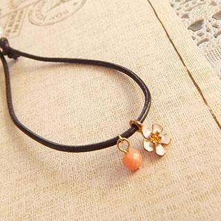 お花とピンクサンゴの革ブレス (ホワイト) * fledelee
