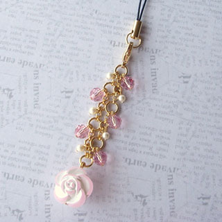 薔薇とクリスタライズのストラップ (ピンク)*Glassberry