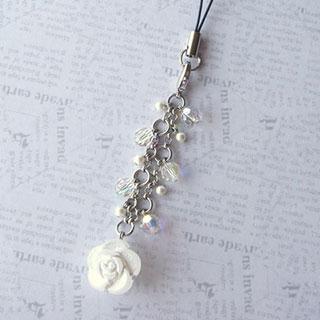 薔薇とクリスタライズのストラップ (クリスタル)*Glassberry