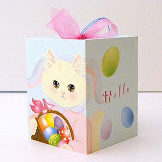ギフトボックスカード【卵 白猫】* Haginko