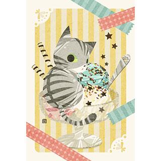 ポストカード【猫アイス】* ひよま