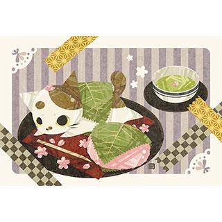 ポストカード【猫桜餅】* ひよま