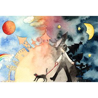 ポストカード【黒猫と黒猫のお話。】*ほしくず。
