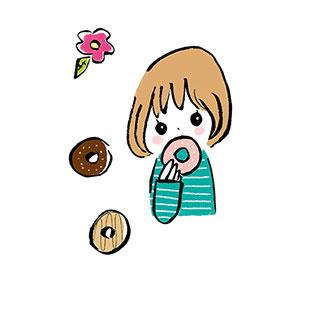 ポストカード【おやつタイム…ドーナツ】* いちの うたは