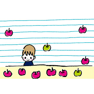 ポストカード【リンゴは何個?】* いちの うたは