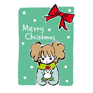 ポストカード【雪だるまとクリスマス】* いちの うたは