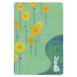 ポストカード【Rabbit flower garden (ウサギの花畑)】*きむらともこ