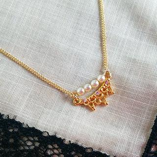 レース模様のネックレス (ゴールド) * kokomomo