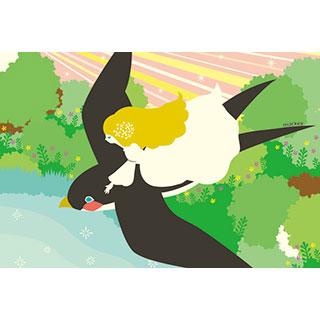 ポストカード【おやゆび姫〜ツバメの背に乗って〜】*中谷こまき