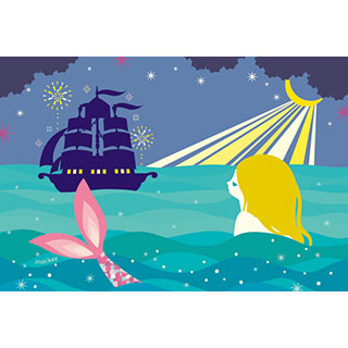 ポストカード【人魚姫と王子の船】*中谷こまき