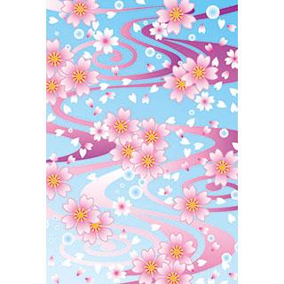 ポストカード【流水文桜】*くま舎