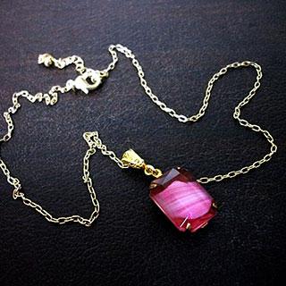 ヴィンテージガラスネックレス・ピンク*Luna Antique*