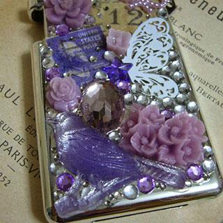 コラージュミンティアケース・蝶と紫の鳥*Luna Antique*