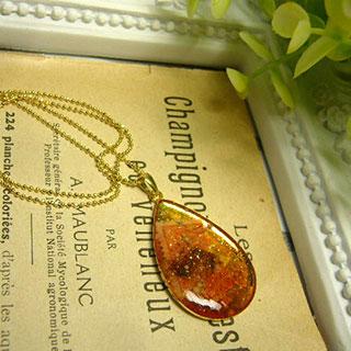 煌めき樹脂ドロップのネックレス・サンセット II *Luna Antique*