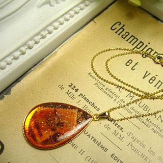 煌めき樹脂ドロップのネックレス・サンセットI *Luna Antique*