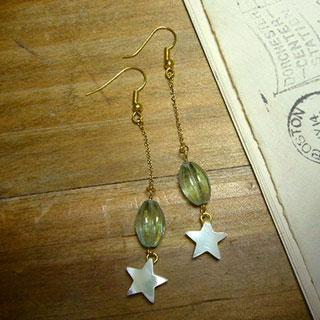 星と蛍石のピアス *Luna Antique*