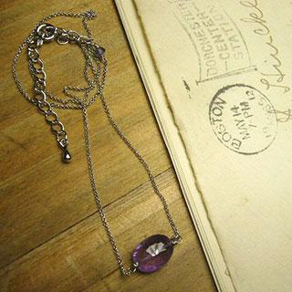 宝石質アメジストの一粒ネックレス *Luna Antique*