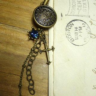 蒼の宝石と十字架のストラップ *Luna Antique*