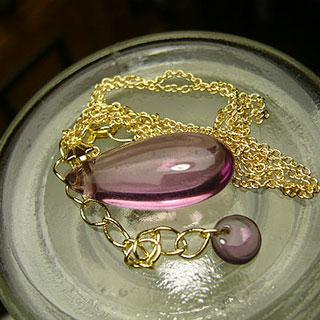 一粒ネックレス「紫の雫」*Luna Antique*