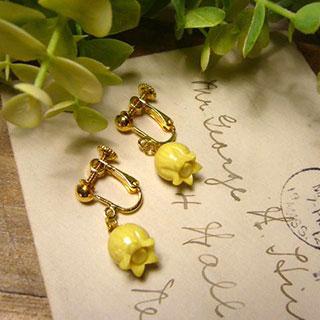 黄色のチューリップのイヤリング *Luna Antique*
