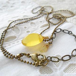 蜂蜜檸檬の小粒ネックレス *Luna Antique*