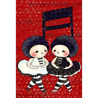ポストカード【双子 音符、おどる】*山口 もくみ