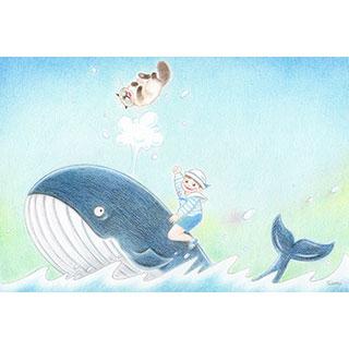 ポストカード【クジラに乗った少女】* ネコヤ
