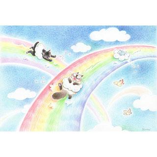 ポストカード【虹色ウォータースライダー】* ネコヤ