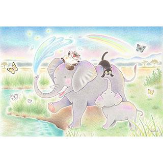 ポストカード【ゾウさんシャワー♪】* ネコヤ