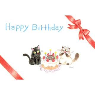 ポストカード【お誕生日おめでとう!】* ネコヤ