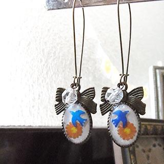 青い鳥のフックピアス * nico_yuk* [30%OFF]