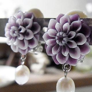 ダリアと真珠のイヤリング:パープル * nico_yuk*