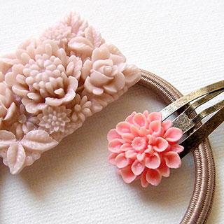 カボションのヘアアクセ*セット:ピンク * nico_yuk*