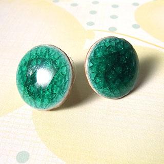 大きな丸い磁器のピアス:花緑青 * tranquillement**