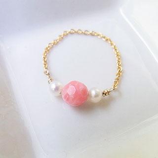 チェーンリング 7号:珊瑚と真珠 * tranquillement**
