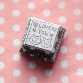 チロルはんこ 猫の「LOVE YOU」* のっぺanko