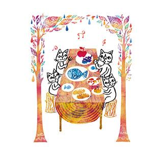 オータムカード【森の秋色レストラン】* おかべてつろう