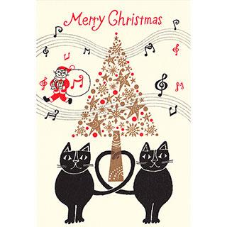 クリスマスカード【たのしいメロディーで、メリークリスマス!】* おかべてつろう