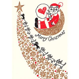 クリスマスカード【輝く星に向かって、メリークリスマス!】* おかべてつろう<img class='new_mark_img2' src='https://img.shop-pro.jp/img/new/icons7.gif' style='border:none;display:inline;margin:0px;padding:0px;width:auto;' />