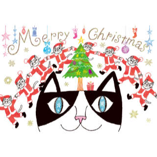 クリスマスカード【みんなでつながってメリークリスマス!】* おかべてつろう<img class='new_mark_img2' src='https://img.shop-pro.jp/img/new/icons7.gif' style='border:none;display:inline;margin:0px;padding:0px;width:auto;' />